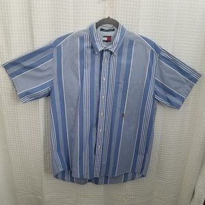 Tommy Hifiger Blue White Stripe Shirt Sz L